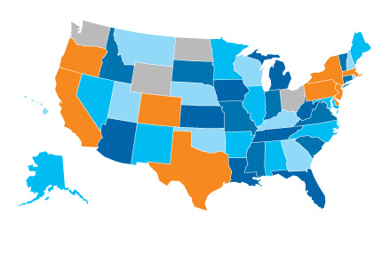 A map showing which states have implemented the Experience Rating Adjustment as of 5/1/2013.